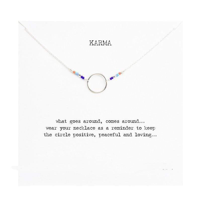 Karma Charm Necklace Necklace WickedAF Sliver Wish Card