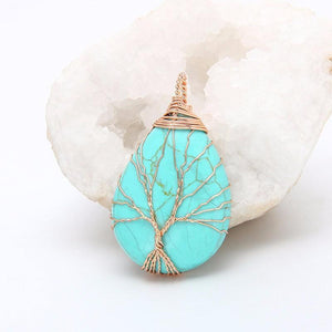 WickedAF necklace Turquoise Tree Of Life Wire Wrapped Crystal Necklace