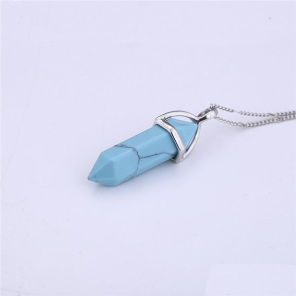 Natural Crystal Link Chain Necklace Necklace WickedAF Turquoise