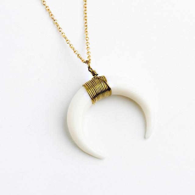 Horn Pendant Necklace Necklace WickedAF white b