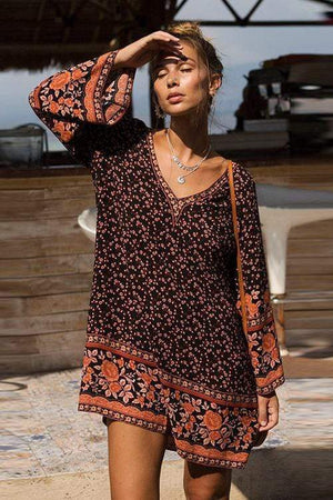 Noelle Forest V-neck Boho Print Mini Dress WickedAF
