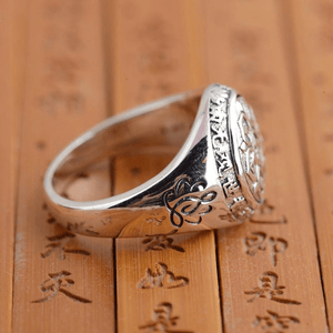 WickedAF Om Ma Ni Pad Me Hum Mantra Sterling Silver Ring
