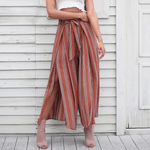 ASHLEY Boho High Waist Split Stripe Wide Leg Pants pants WickedAF