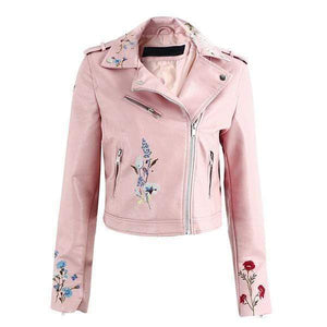 Embroidered Vegan Leather Jacket (4 Colors) WickedAF Pink S