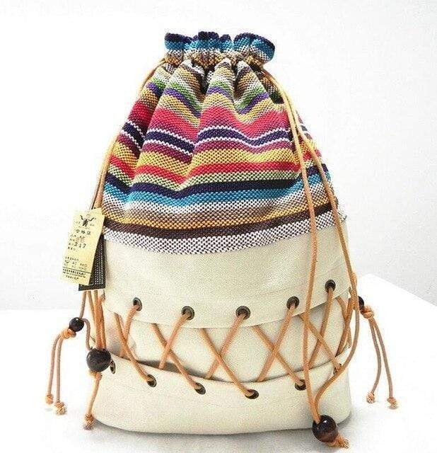 Ethnic Canvas Striped Backpack WickedAF Rice white