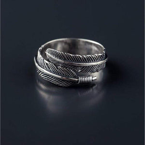Sterling Silver Boho Feather Ring ring WickedAF