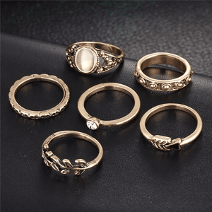 Bohemian Antique Leaf Ring Set 6pcs Ring Set WickedAF