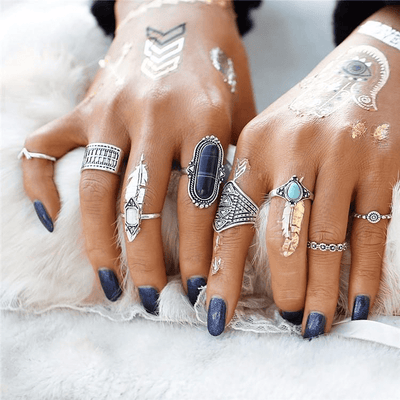 Bohemian Flower Ring Set 8pcs Ring Set WickedAF