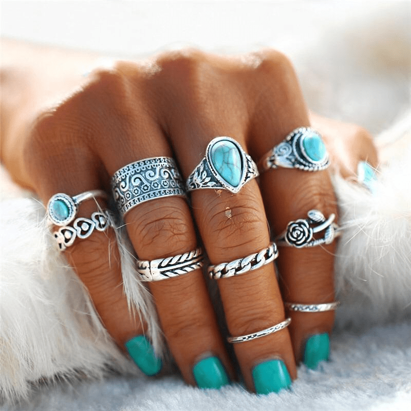 Turquoise Rose Ring Set 10 pcs Ring Set WickedAF