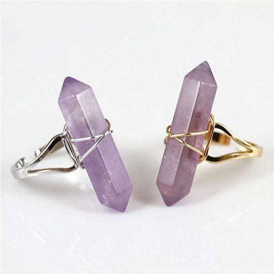 Amethyst Crystal Point Quartz Ring rings WickedAF