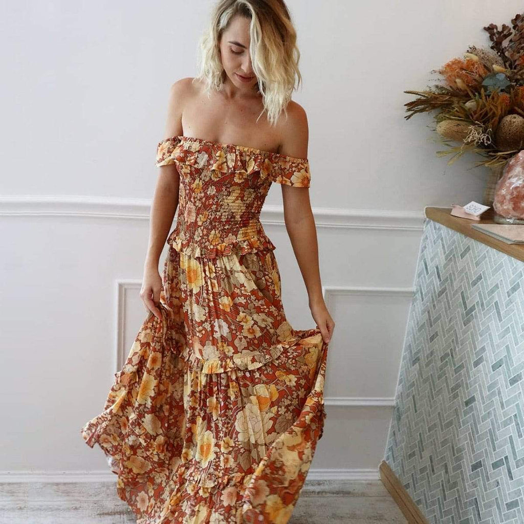 Kimberley Off the shoulder Maxi Dress WickedAF Rust L