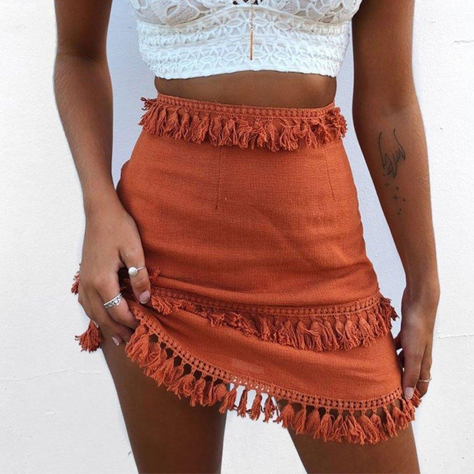 Cecilia Tassel Skirt WickedAF Rust red S