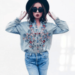 Leaf Me Alone Floral Embroidered Shirt shirt WickedAF