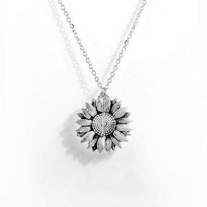 You Are My Sunshine Sunflower Necklace WickedAF silver