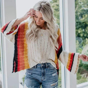 WickedAF Stripe Autumn Rainbow Sweater