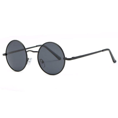 Round Sunglasses In Gunmetal With Mirrored Lens sunglasses WickedAF Black