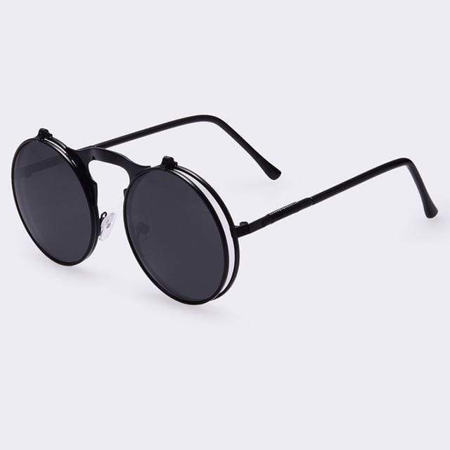 Flip Up Vintage Round Sunglasses sunglasses WickedAF black/blackframe