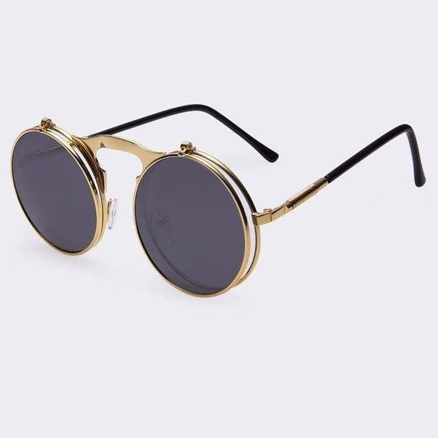 Flip Up Vintage Round Sunglasses sunglasses WickedAF black/goldframe