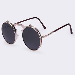 Flip Up Vintage Round Sunglasses sunglasses WickedAF black/silverframe