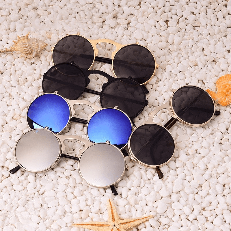 Flip Up Vintage Round Sunglasses sunglasses WickedAF