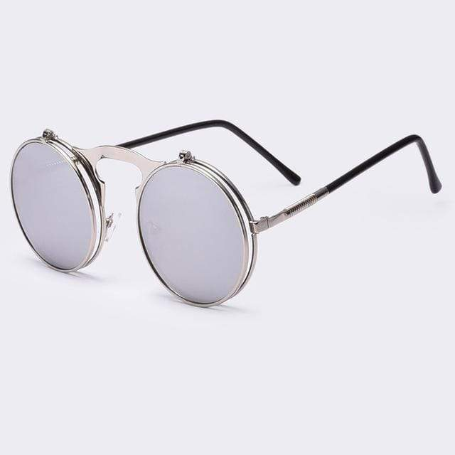 Flip Up Vintage Round Sunglasses sunglasses WickedAF silver