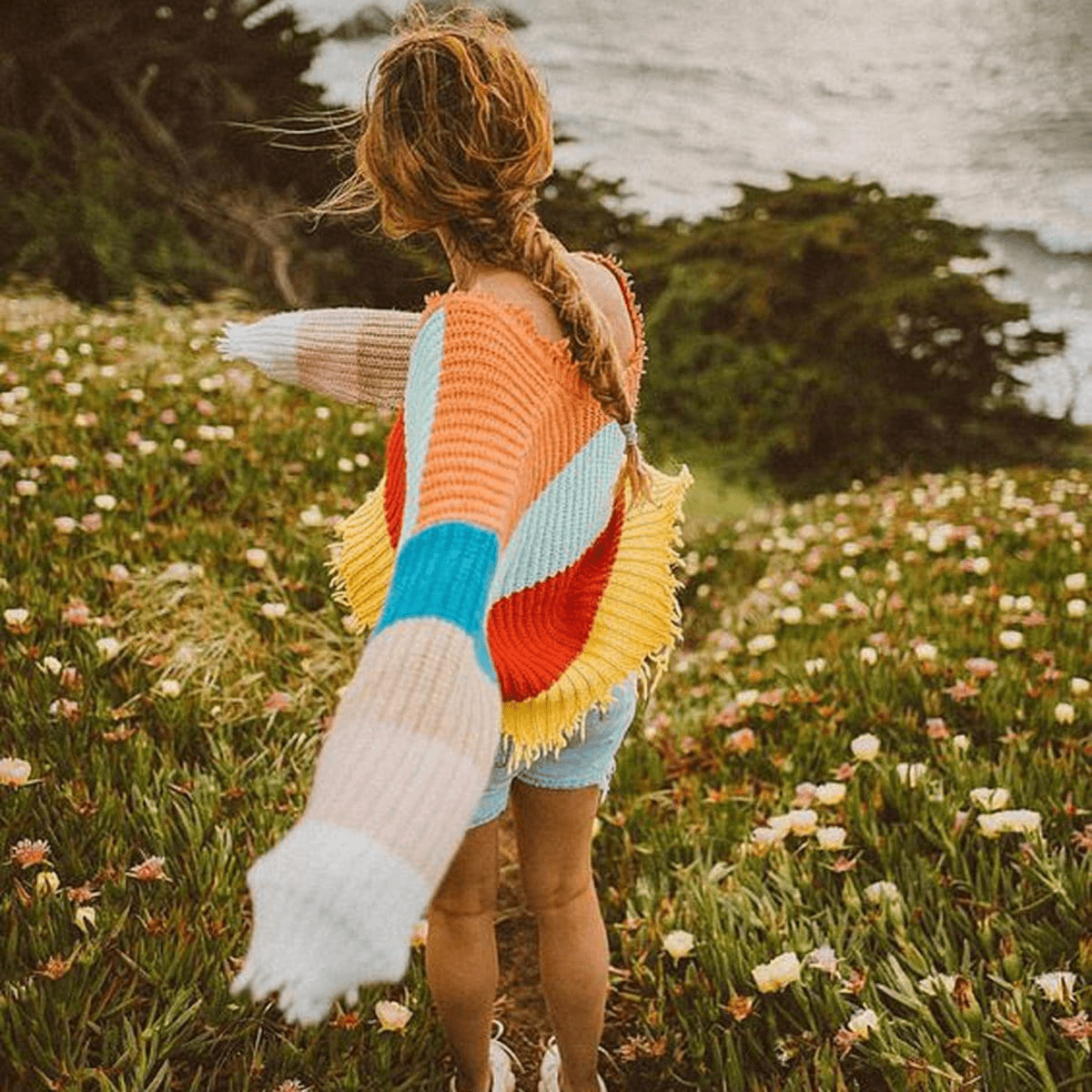 WickedAF sweater Rachael Rainbow Stripe Destroyed Cropped Sweater