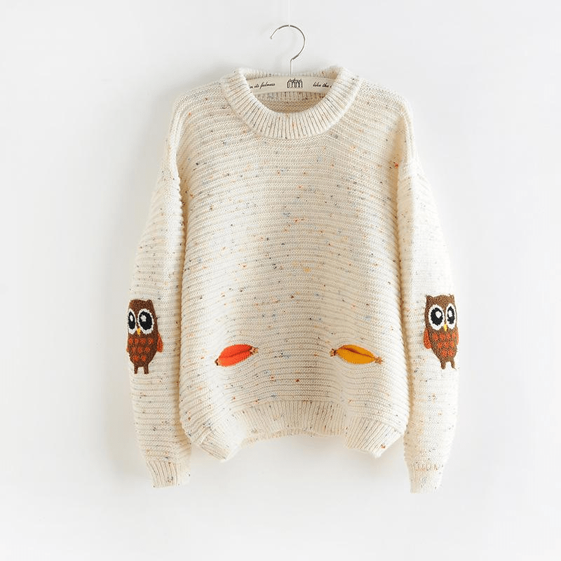 Woodland Owl Patch Sweater sweater WickedAF Beige One Size
