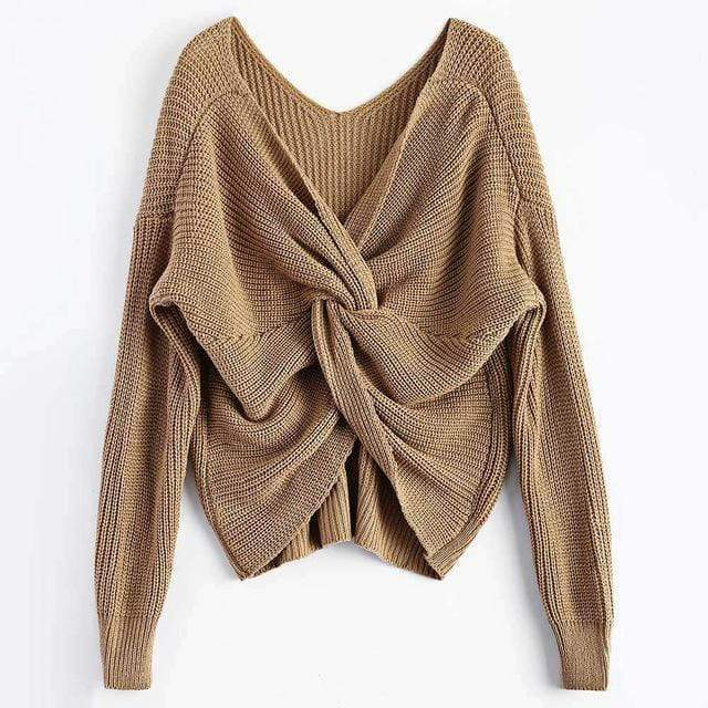 Knitted Twisted V Sweater sweater WickedAF Brown One Size