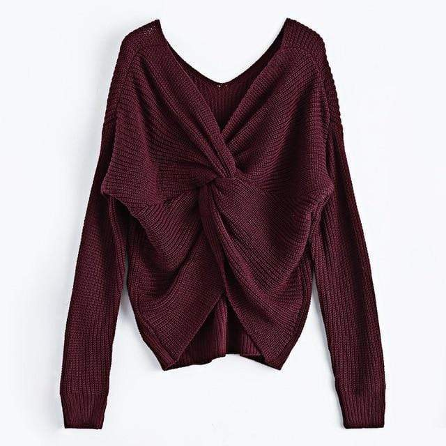 Knitted Twisted V Sweater sweater WickedAF Burgundy One Size