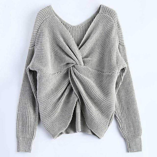 Knitted Twisted V Sweater sweater WickedAF Gray One Size