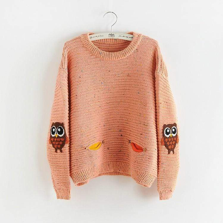 Woodland Owl Patch Sweater sweater WickedAF Pink One Size