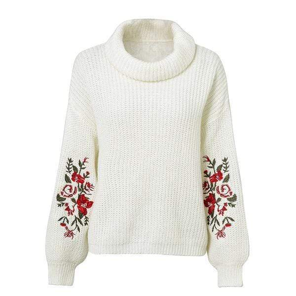 Kendresa Floral Embroidered Sweater sweater WickedAF White One Size