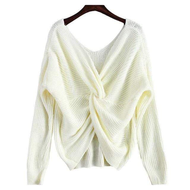 Knitted Twisted V Sweater sweater WickedAF White One Size
