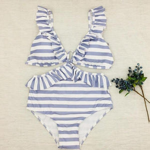 WickedAF Swimwear Mona Striped One Piece Swimsuit