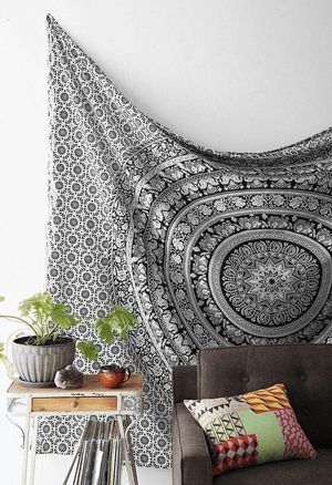 Black And White Elephant Mandala Tapestry Wall Hanging tapestry WickedAF