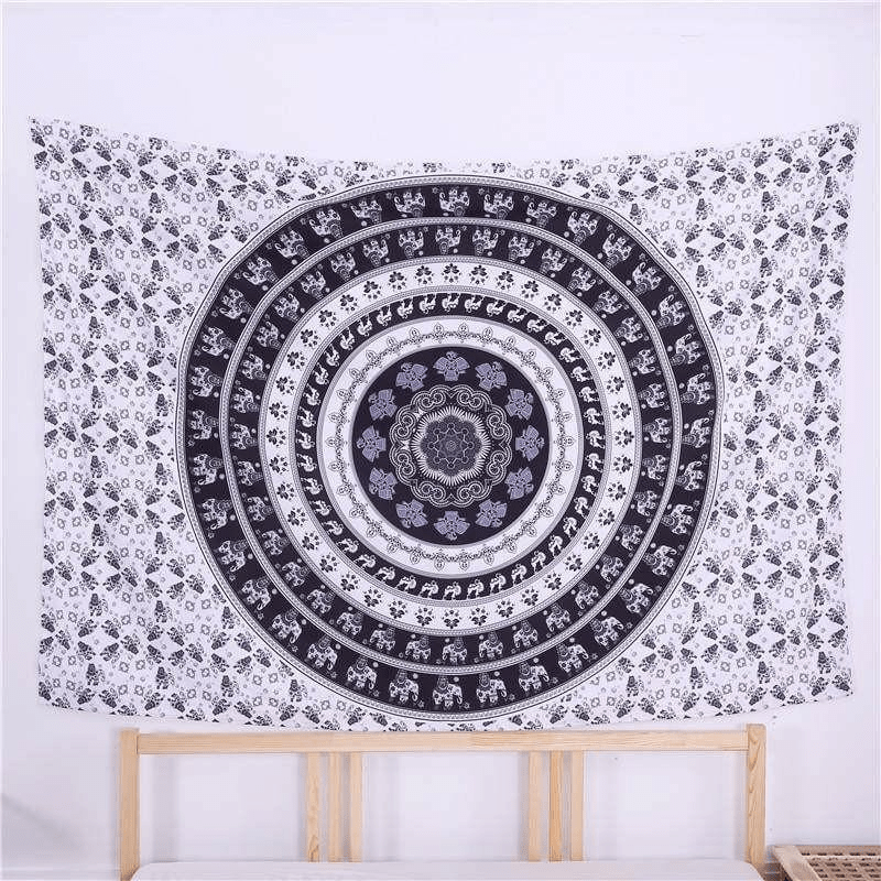 Black and White Mandala Elephant Tapestry tapestry WickedAF