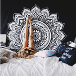 Black and White Mandala Tapestry tapestry WickedAF