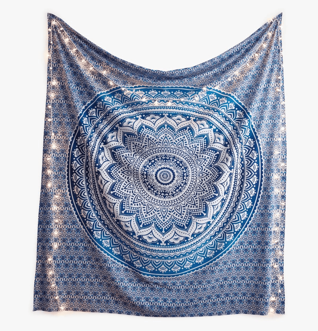 Blue and White Mandala Tapestry tapestry WickedAF