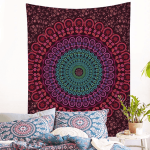 Floral Mandala Wall Tapestry tapestry WickedAF