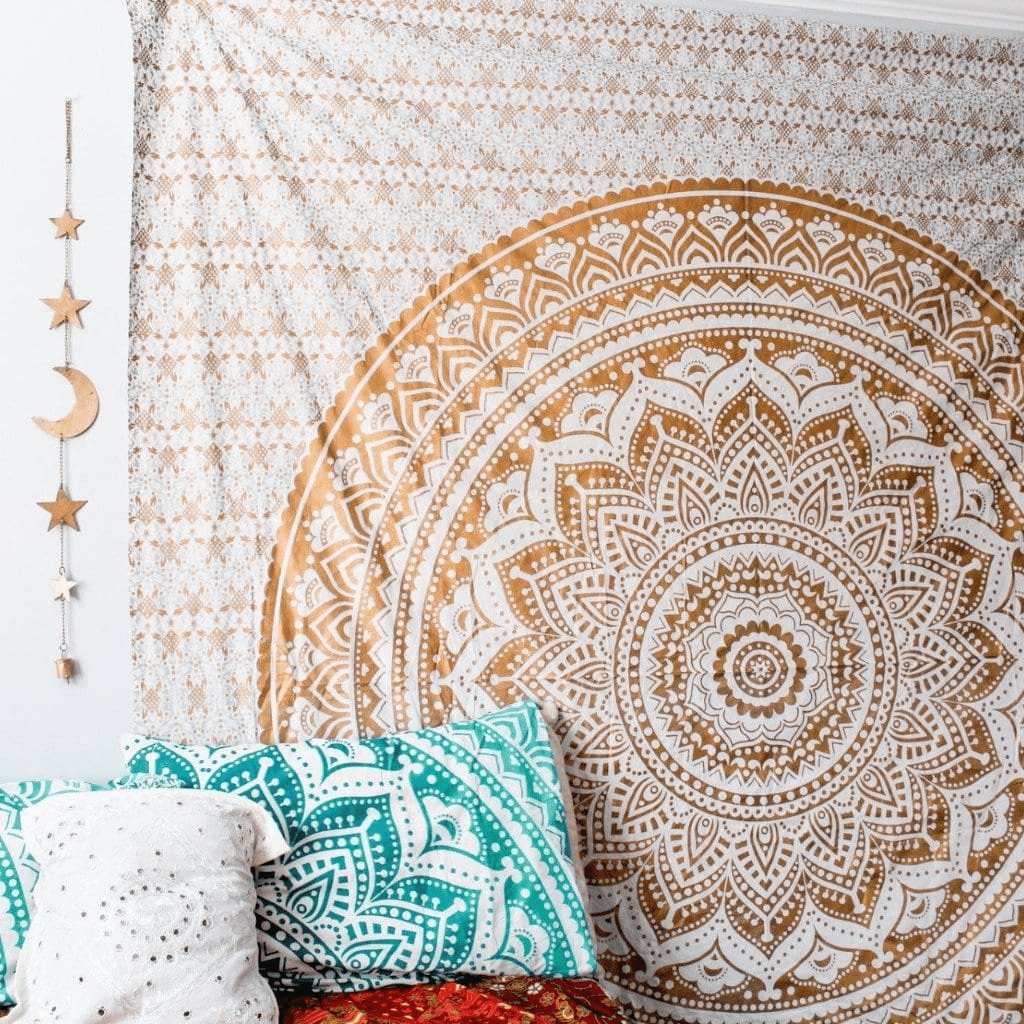 Gold and White Mandala Tapestry tapestry WickedAF