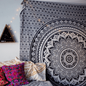 Hippie Trippy Black and Gray Mandala Tapestry tapestry WickedAF