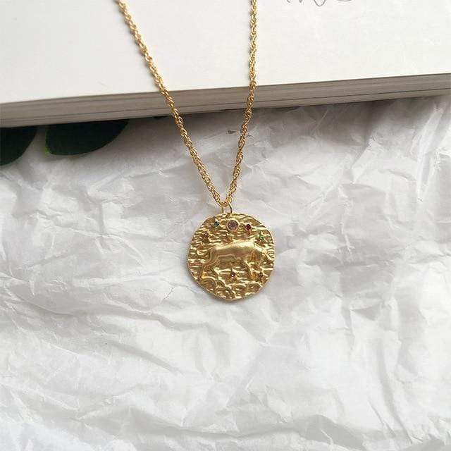 Zodiac Sign Coin Necklaces WickedAF Taurus