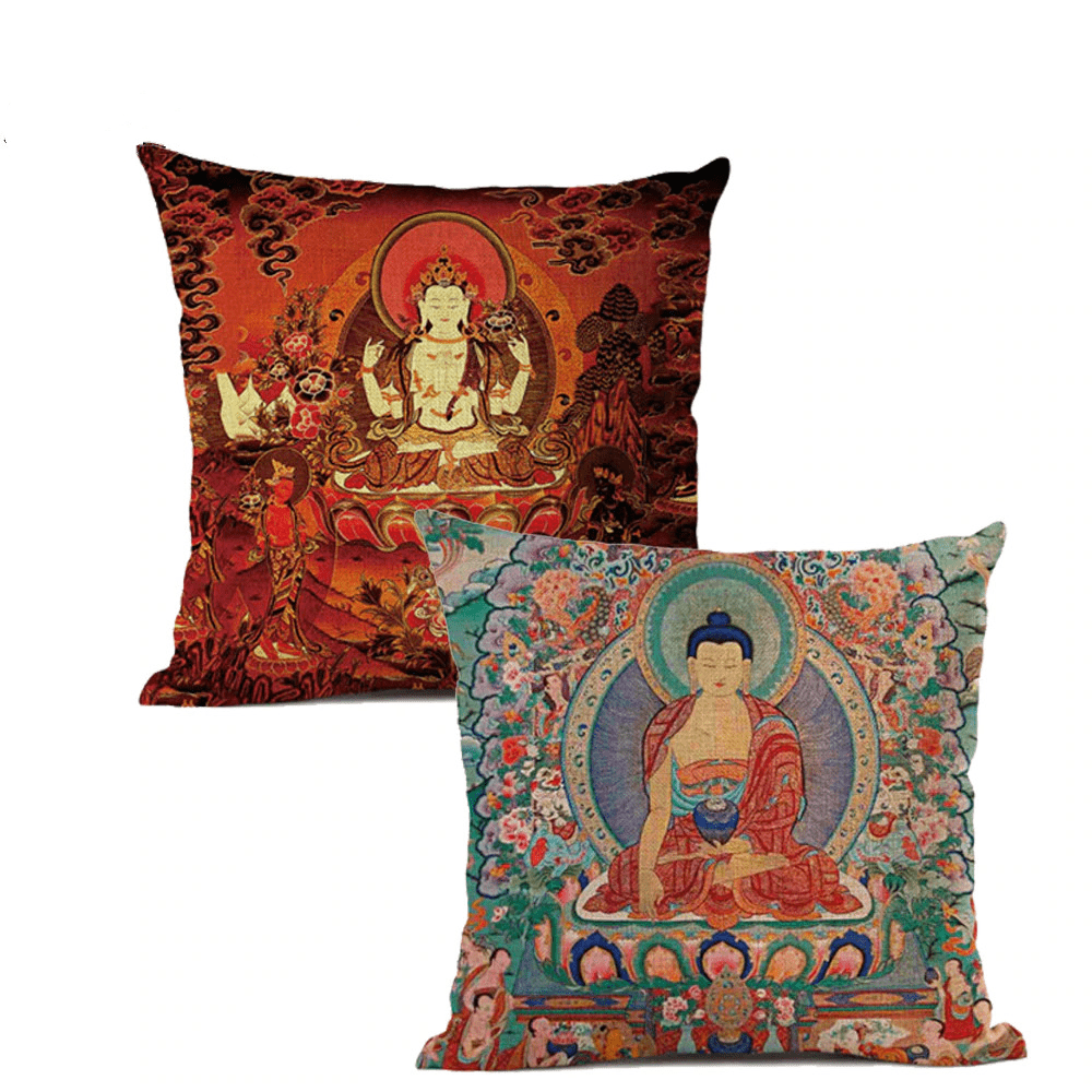 Thangka Tibetan Buddhist Painting Cushion Covers WickedAF