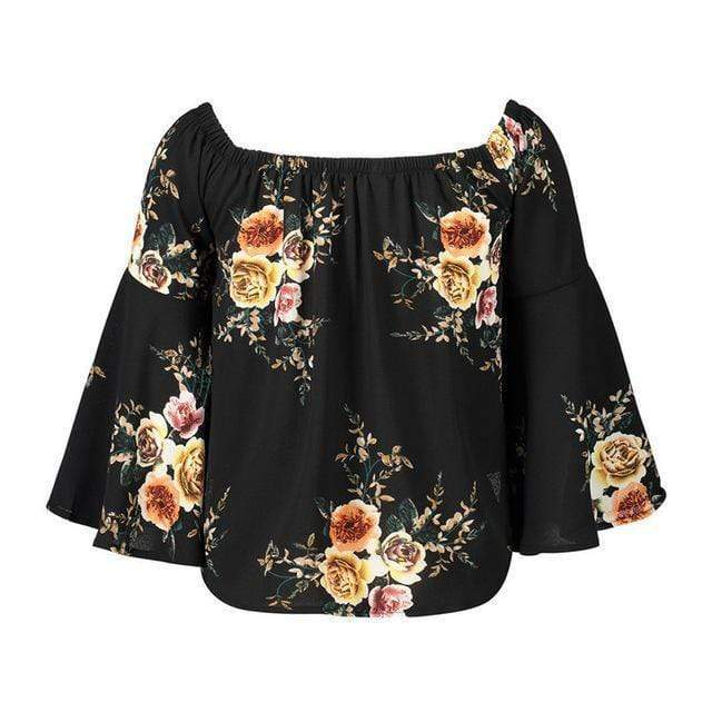Camille Floral Off Shoulder Top tops WickedAF Black XXL