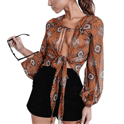 Boho Summer Tie Up Chiffon Blouse tops WickedAF