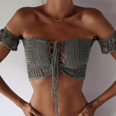 Island Gal Knitted Crop Top tops WickedAF