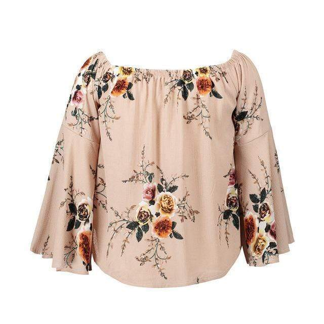 Camille Floral Off Shoulder Top tops WickedAF Khaki XXL