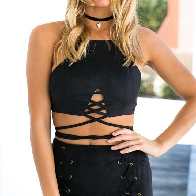 Skylar Suede Lace Up Crop Top tops WickedAF