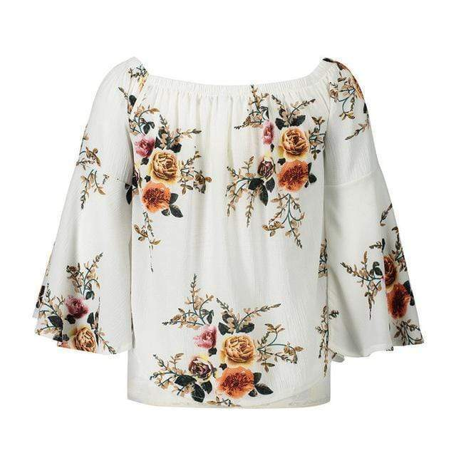 Camille Floral Off Shoulder Top tops WickedAF White XXL