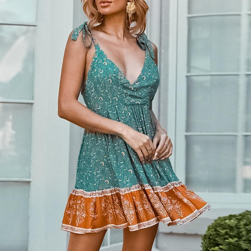 Turquoise Floral Slip Mini Dress WickedAF